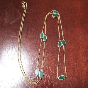 Vintage Gold and malachite station necklace